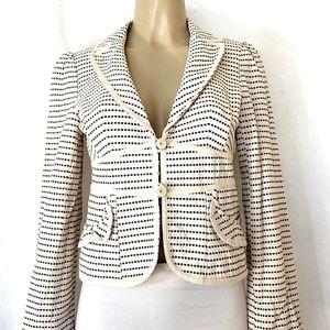 Nanette Lepore Blazer Jacket 6 Fitted Brown Cream